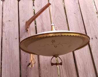 SALE Vintage 1960's Danish Style Wood and Metal Swing Arm Adjustable Saucer Lamp