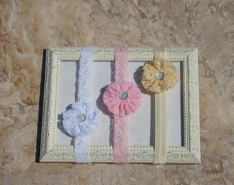 1 yo-yo flower Infant headband......your choice of Pink, Cream or White