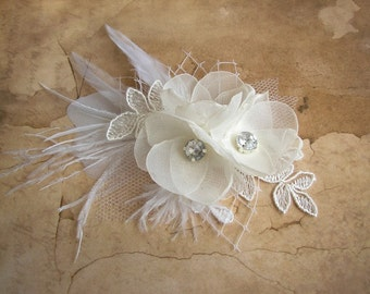 Wedding Hair Accessories - Ivory White Hair Flower Clip - Bridal Headpiece - Feather Lace Hair Piece - Pearl Rhinestones - Hair Flower Clip
