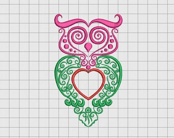 Owl Line Art Full Stitch Embroidery Design in 4x4 5x5 and 6x6 Sizes