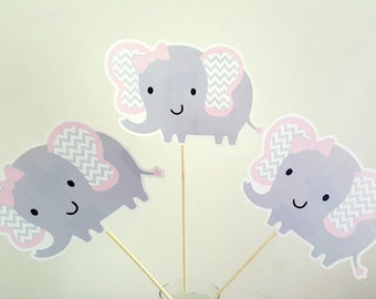 Elephant Centerpiece, Elephant Baby Shower Centerpiece, Elephant Birthday Centerpiece, Pink and Grey