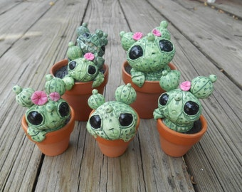 Custom Cacti Sculpture Desert Creature Potted Clay Plant Green Cute Big Eyed Cactus