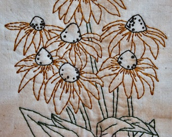 Framed Black-eyed Susan Stitchery