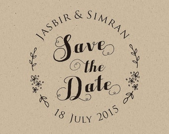 Save the Date-Customized  WEDDING Favor Stamps- Rustic stamp-Personalized Custom Rubber Stamp-custom stamp
