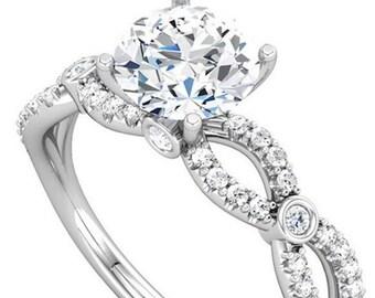 Moissanite Engagement Ring| Platinum and Diamonds| Unique Feminine Sculptural Contemporary Engagement Ring