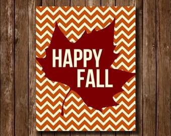 Happy Fall Chevron Printable
