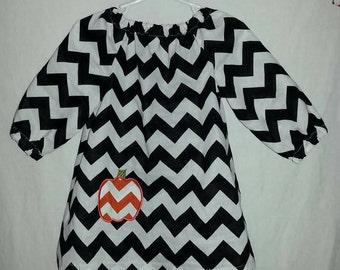Black & White Pumpkin Applique Peasant Dress