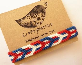 Macrame Bracelet Handmade Woven Friendship Bracelet Cotton Bracelet Red White Blue Wristband Aztec Bracelet Wish Bracelet Friendship Gift