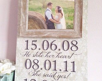 Save The Date Sign - Wedding Date Sign Wedding Photo Prop - Anniversary Gift - Wedding Gift - Engagment Sign - Custom Picture Frame Sign