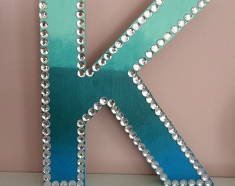 Ombre Wooden Letter With Rhinestone Border