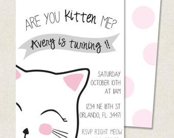 Kitty Birthday Invitation- photo option available