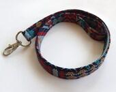 Tribal Lanyard / Indian Blanket Inspired / Boho Keychain / Bohemian / Turquoise / Key Lanyard / Loom Woven Style / ID Badge Holder