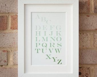 Alphabet, Green - Giclée print