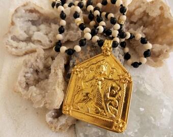 Stunning Old Gold Tribal Rajasthani Pendant on Basalt and Bone Beaded Necklace