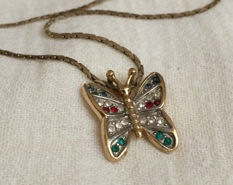 Vintage Butterfly Necklace - Gold Tone with Colored Crystals