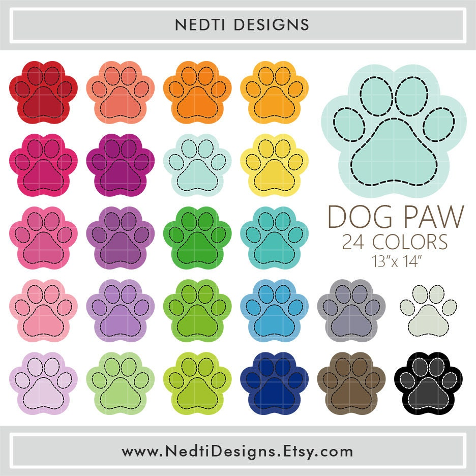 24 Dog Paw Clipart Colorful Paws Rainbow Color Clip Art PNG