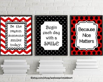 Red and Black Classroom Theme, Printable Quotes for Students, Begin Each Day with a Smile, Be the Reason Someone Smiles Today, Quote Posters