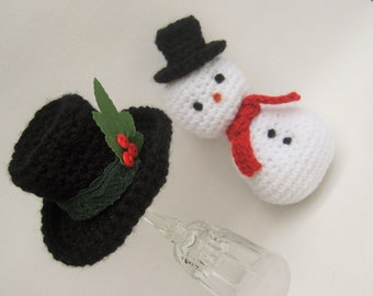 Snowman Top Hat and Toy Set Newborn Christmas Props Baby Hat Christmas Baby Props Winter Boy Girl Photo Prop Hat Snowman Stuffed Toy