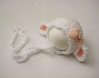 Baby Hat Newborn Lamb Sheep Farm Animal Beanie Baby Shower Gift Crochet Cream Peach Baby Hat Infant Photo Prop Newborn Props UK Seller