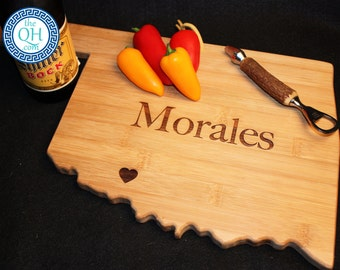 Oklahoma State Shaped Cutting Board Personalized Wedding Moving New Home House Housewarming Closing Unique Gift