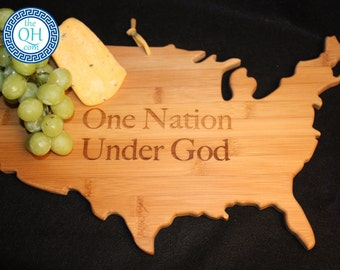 One Nation Under God USA United States of America State Shaped Cutting Board Patriotic Pledge of Allegiance Christian Gift
