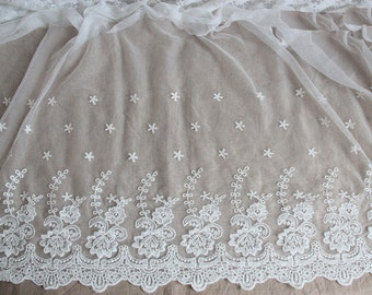 "Lace Fabric White Embroidery Cotton Flower Wedding Fabric 59"" width 1 yard"