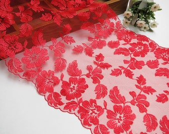 "2.2 yards Lace Trim Red Gauze Cotton Rose Leaf Embroidered Lace Fabric 9.05"" width"