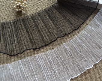 Black White Soft Tulle Elastic Fold Lace Trim 3.54 Inches Wide 2 yards