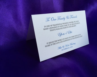 Wedding Donation Cards In Lieu of Favors - Tented Cards