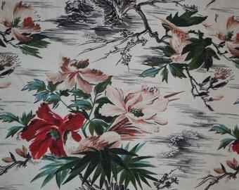 Vintage Tropical Barkcloth Fabric - 1950's Tropical Floral Barkcloth Fabric - 50's Barkcloth Fabric - Vintage Birds Barkcloth Fabric