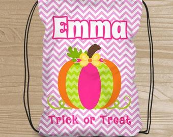 Personalized Halloween Trick or Treat Bag - Custom Pumpkin Drawstring Backpack for Girls - Kids' Halloween Bag - Halloween Pumpkin Treat Bag