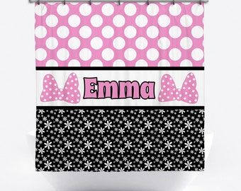 Personalized Shower Curtain - Pink Polka Dot Shower Curtain - Custom Pink Bow Shower Curtain with Name - Pink and Black Bath Decor