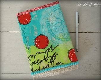 A5 Notebook, A5 Journal, Journal with Fabric Cover, Handpainted Abstract Journal Cover, Logbook