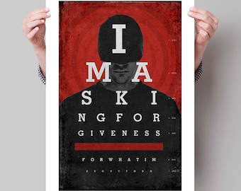 DAREDEVIL Minimalist Poster, Superhero Quote, Typography Prints, Large Wall Art, Eye Chart, College Student Gift Dorm Decor, Gift for Him