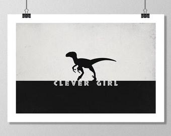 "JURASSIC PARK Inspired Raptor Minimalist Movie Poster Print - 13""x19"" (33x48 cm)"