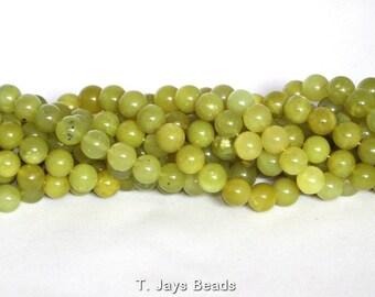 8mm Oliven Jade (Serpentine) Round Beads