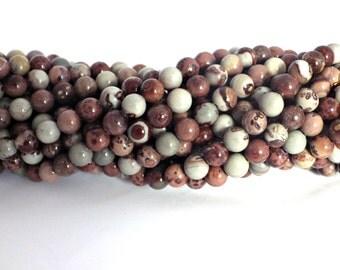8mm Coffee Bean Jasper Round Beads