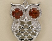 Red Sunstone Sterling Silver Owl Pendant 1.7ct (S2441P)