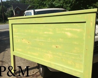 Available to Ship now!-  Funky Shabby Green Headboard with White Linen/Gray Distressing on Back- California King, Cali King. King, Headboard