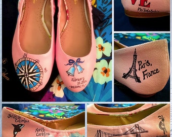 Custom painted Traveler/Vacation Ballet Flats! Designed and personalized just for you.