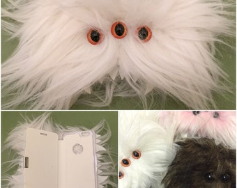 Heebie Jeebie White Furry Phone Flip Case