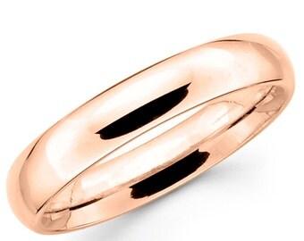 10K Solid Rose Pink Gold 4mm Plain Wedding Band Ring