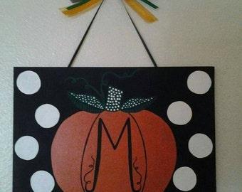 Pumpkin initial canvas 8×10