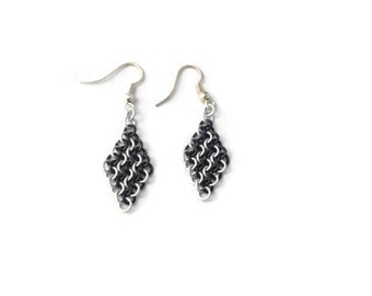 Black & White Earrings - Stripy Chainmaille Earrings - Black and White Chainmaille Earrings