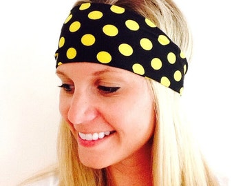 Black and Gold Polkadots Spandex Headband