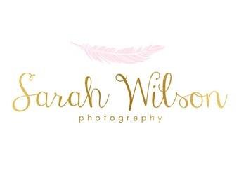 Premade Logo Design & Photography Watermark - Feather Logo - Gold Logo - Feather Watermark - Whimsical Logo -  Whimsical Watermark 777