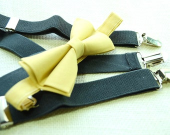 Choose Any bowtie with Dark Grey Suspender !! for toddler/ boy/ men/ baby