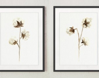 Cotton Set of 2, Floral Wall Painting, Cotton Bolls Drawing, Abstract Flower Illustration, Natural Cotton Plant