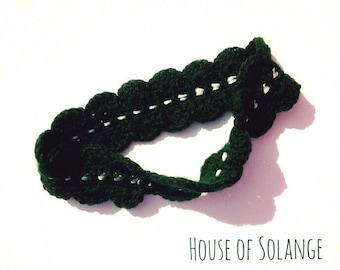 Scalloped Green Headband, Hunter Green Headband, Ribbon Detail Headband, Scalloped Crocheted Headband, Canada