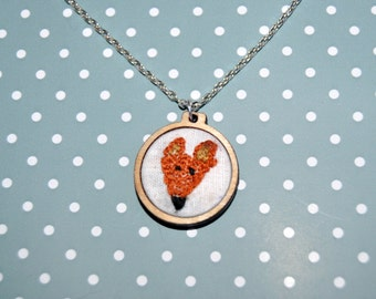 Embroidered Fox Necklace